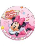 7.5 Personalised Minnie Mouse Icing or Wafer Cake Top Topper NEW